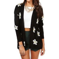 BlackIvoryYellow Daisy Open Cardigan