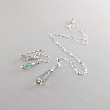 Necklace Set Paradise Shine Crystal Pure Drop Trumpet and Sterling Silver