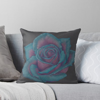 'Turquoise Rose' Throw Pillow by -LAM-