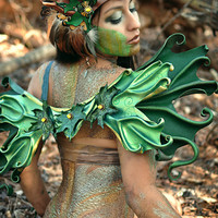 Sculpted Leather  Faerie Wings - Green Maple Fairywings Costume LARP Masquerade Cosplay Halloween