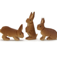Tiny Vintage Hand Carved Wooden Bunny Rabbits - Set of Three 3 Miniature Wood Animal Figurines Knick Knacks - Small Light Brown Baby Rabbits