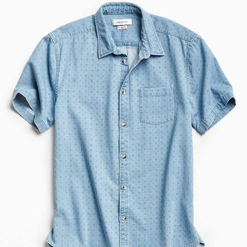 UO Ditsy Denim Short Sleeve Button-Down Shirt - Urban Outfitters