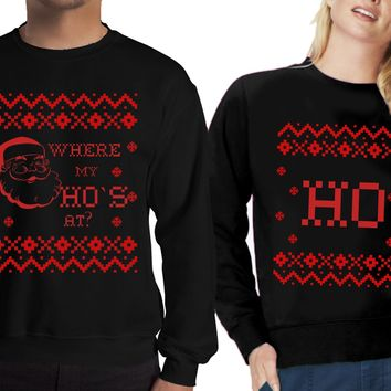 Christmas Holiday Ugly Sweater for Couples –Where My Ho`s at Shirt-Price for 1