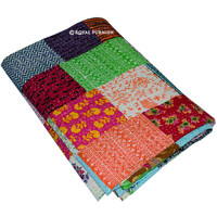 Queen Size Patchwork Bohemian Kantha Quilt Blanket Bedding on RoyalFurnish.com