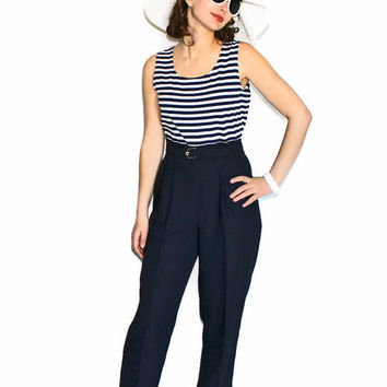 SALE Vintage Jumpsuirt 80s Black White Stripes Top Black Petite Jumpsuit by John Roberts. Nautical. Beach Outfit. Vacation. Spring Summer
