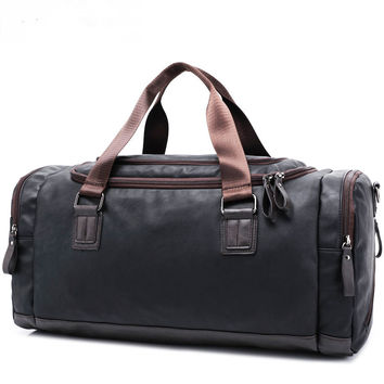 PU men's leather travel duffel bag , male handbags ,tote weekend bag, luggage valise ,for traveling,male's bag