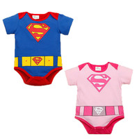 2016 Spring Summer Baby Boys Girls Romper Superman Romper Clothes Short Sleeve  Cotton Romper