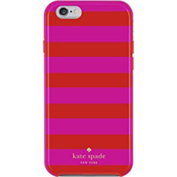 Kate Spade New York Flexible Hardshell Case for Iphone 6 Plus & 6s Plus Candy Stripe Pink Red