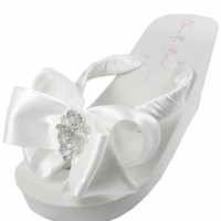 Bridal Flip Flops - Antique Lace Wedge Wedding Flip Flops, Ivory or White, Bows for th