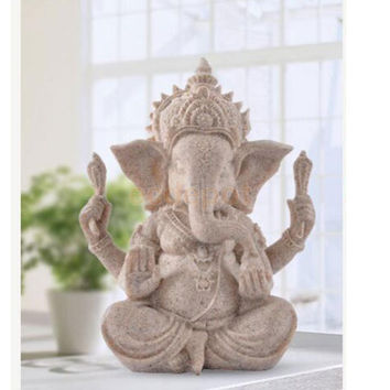 Hand Carved Sandstone Seated Ganesh Buddha Deity Elephant Hindu Statue Decor