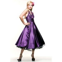 A-Line V-Neck Knee-Length Elastic Satin Prom Dress SAL0950