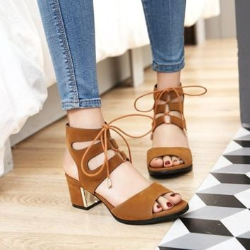 Peep Toe Lace Up Straps Low Chunky Heels Sandals