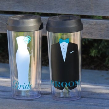 acrylic cup, insulated tumbler, bride and groom cup set, tumbler set, bridal party set, personalized cups, wedding gift, coffee tumbler