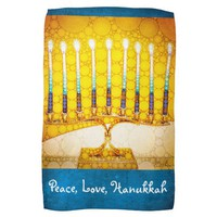 """Peace, Love, Hanukkah"" Yellow Gold Menorah Photo Kitchen Towel"