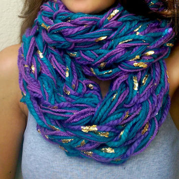Summer Chunky Sale! Clearance, Mermaid Arm Knit Scarf, Super Chunky Infinity Arm Knit Scarf, Purple Teal Gold Mermaid Inspired Chunky Scarf