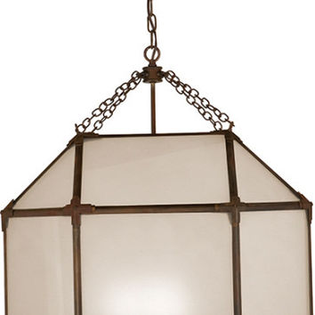 Morris Antique Zinc Frosted Glass Lantern - Visual Comfort