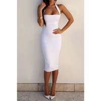 Solid Midi Dress White