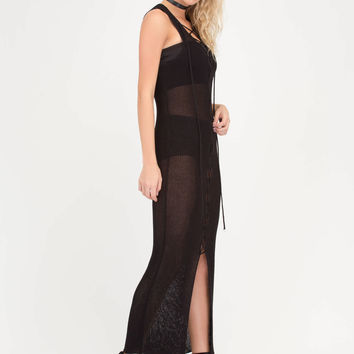 Net On With It Sheer Lace-Up Maxi Dress GoJane.com