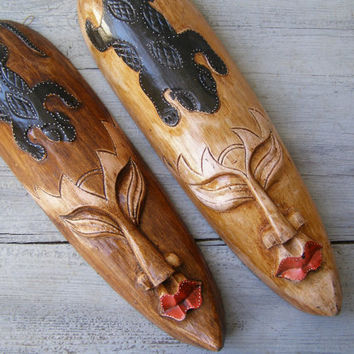 African Long Face Wooden Tribe Man and Woman Masks, Handcarved brown red Wood Face Wall figurines, Ethnic Primitive Black Lizard Decoration