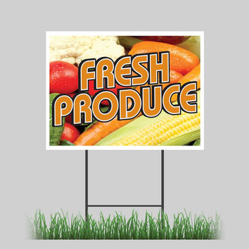 """18""""x24"""" Fresh Produce Yard Sign Fruit Stand Farmer Market Retail Store Sign"""