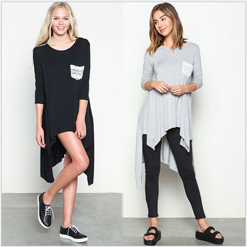Long-Sleeved Solid Color Irregular Hem Long T-Shirt