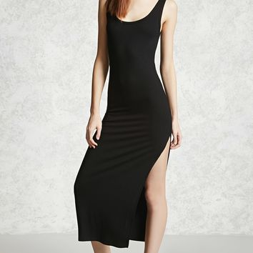 Ribbed Side-Slit Maxi Dress