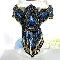 Black Beadwoven Necklace Fringed Choker Peacock