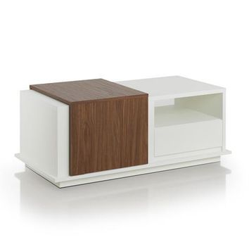 Geo Modern Coffee Table in White / Walnut