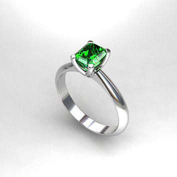 Size 6.25, Ready to ship, Emerald ring, white gold, engagement ring, solitaire, emerald cut, emerald engagement, vintage style, green
