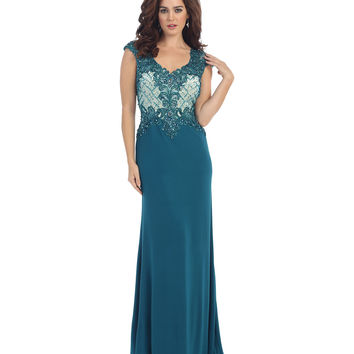Teal Sheer Lace Beaded Dress 2015 Prom Dresses