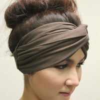 Twist Turban Headband, Tribal Fashion Head wrap, Elastic,Dark Brown Plain Color Style