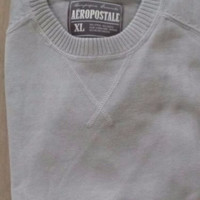 Aeropostale Men's Solid Cotton Blend Gray Long Sleeve Raglan Crew Sweater M