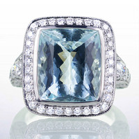 LARGE Custom Aquamarine Cushion Cut Diamond Halo Pave Designer Style Engagement Wedding Anniversary Cocktail Ring