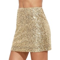 Solid Gold Embroidered Sequin Skirt