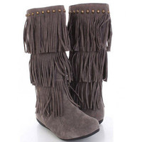 Gray Fringe Boots Indian Moccasin Studs Vegan Suede 3 Tier Studded Fashion Trend