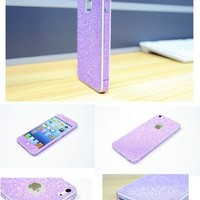 TCD for Apple iPhone 5 5S Full Body [PURPLE] Sparkling Glitter LIFETIME WARRANTY [SKIN STICKER] Adhesive - No Sticky Residue Stylish Decorative Skin with Built in Screen Protector