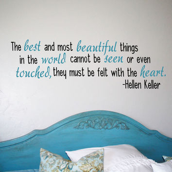Beautiful Things Quote Helen Keller Vinyl Wall Decal Home Decor