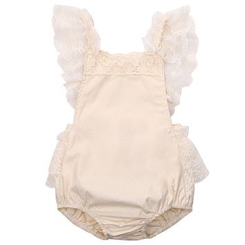Baby Girl's Princess Lace Romper Newborn Backless Jumpsuit