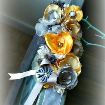 Grey and Yellow Flower Ribbon Sash for Bridal, Weddings, Maternity, Pregnancy Photo Prop, Prom, or Flower Girl
