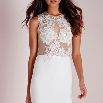 Missguided - Applique Floral Mesh Bodycon Dress White