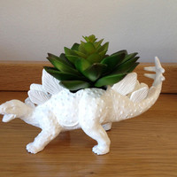 Up-cycled White Stegosaurus Dinosaur Planter