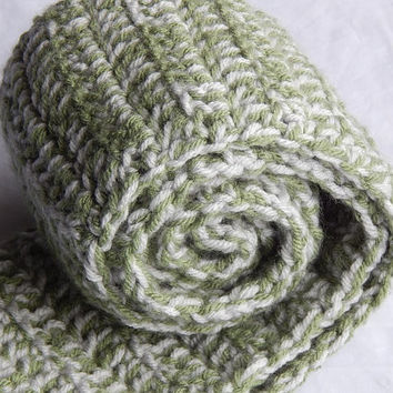 Light Grey and Green Sage Bi Color Double Strand Female Scarf Multicolored Double Crochet Scarf