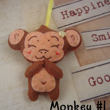 Monkey Key Chain/Ornament, Felt Hand Stitched, Boy With Banana and Girl WIth Flower Button