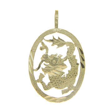 SOLID 14K YELLOW GOLD DIAMOND CUT DRAGON DESIGN PENDANT OVAL 14.90MM