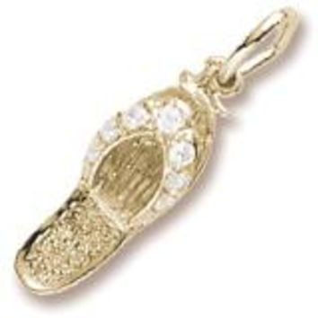 White Cz Sandal Charm in Yellow Gold Plated
