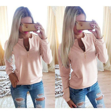 Plain Zip-Up Sweater