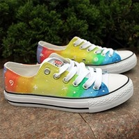 MP Rainbow Color Stars Pattern Hand Painted Canvas Sneakers 052828 IDP 0705