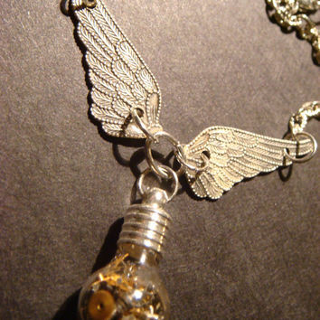 Steampunk Necklace- Gears and Watch Parts in a Tiny Round Bulb shape Bottle Vial with Wings