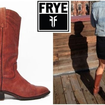 FRYE Boots Vintage Brown Western Cowboy Boots Womens Size 10 / Mens size 8