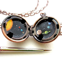 Oil-Painted Solar System Locket, Miniature Original Outer Space, Tiny Galaxy